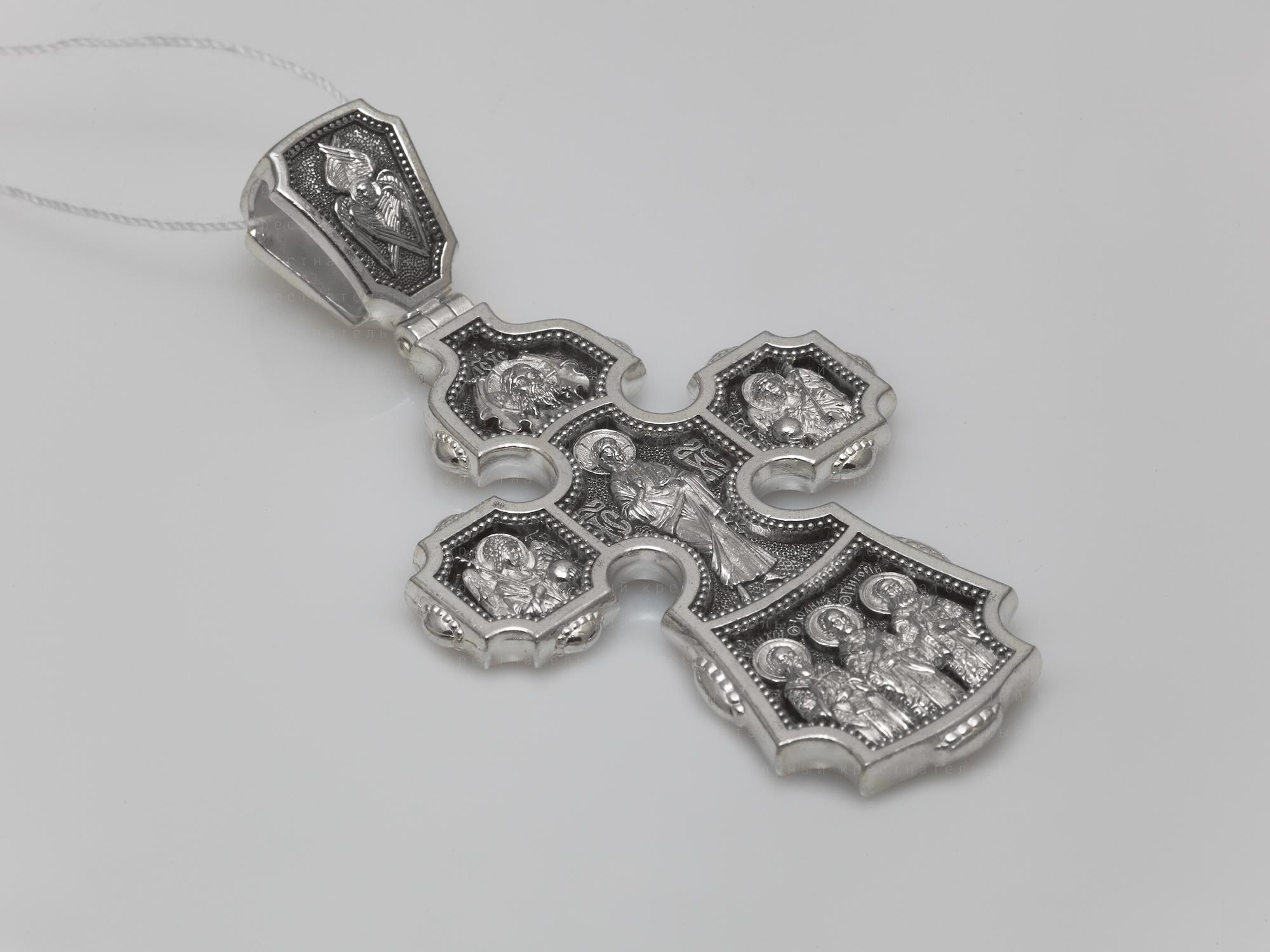 18639. Господь Вседержитель. Архангелы Гавриил и Михаил. Три Святителя. Православный крест.